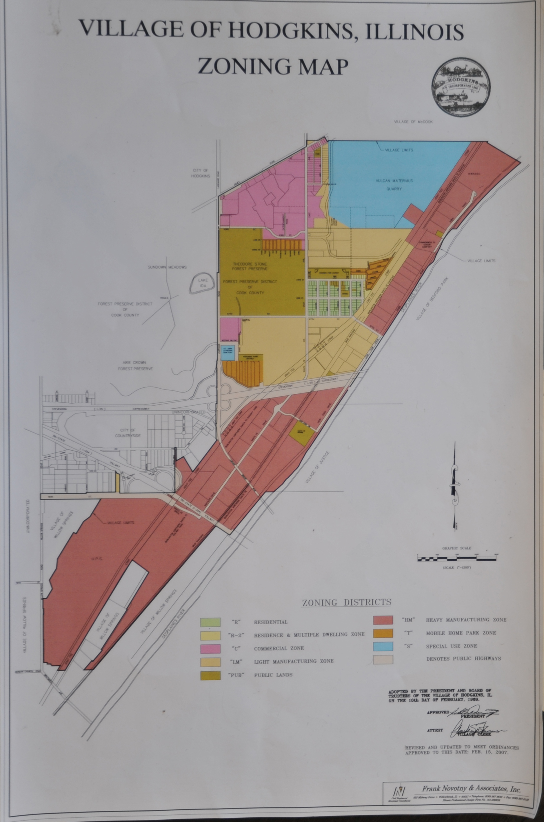 Zoning Maps For Bedford Park Justice And Hodgkins Illinois - Hodgkins il us map